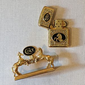 24k Gold Plated Collectible Colt Lighter and Stand for Sale in Atlanta, GA