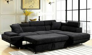 Black convertible pullout sofa bed couch sectional/Yes We Finance 😁 Message To Apply Today / No Credit Needed - Order Today! for Sale in Downey, CA