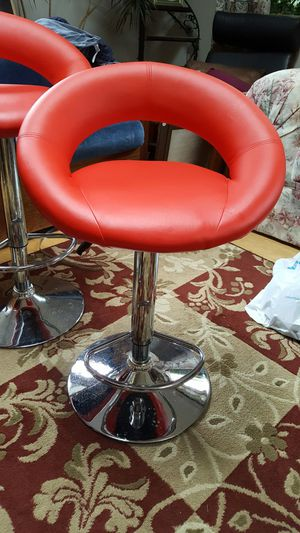 Chrome bar stools with red seats for Sale in Newtown Square, PA