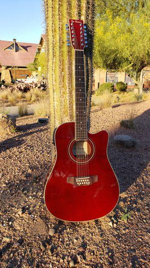 New 12 String Acoustic Electric Guitar Burgundy Combo Gig Bag & Accessories Guitarra Electrica Acústica 12 Cuerdas para Requintiar Corridos y Sierreño for Sale in South Gate, CA