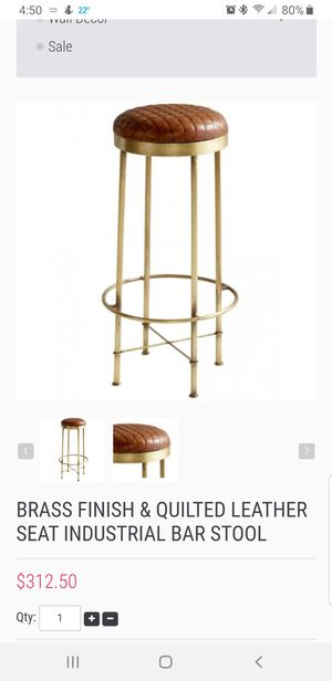 Brass leather bar stool for Sale in Centreville, VA