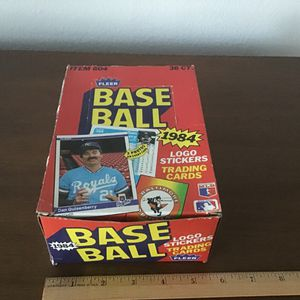 1984 FLEER Baseball Box (Opened) With 36ct Unwrapped Baseball Cards for Sale in Huntington Beach, CA