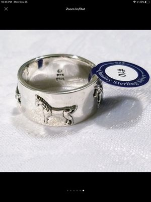 """NWT """"All The Pretty Horses"""" Sterling Silver Beautiful Stallions Wide Band Ring Size 10 for Sale in Durbin, WV"""