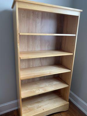 "Wood shelf unit, 59""H x 31.5""W x 13""D (BONUS: straw baskets!) for Sale in Washington, DC"