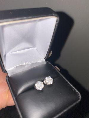 Diamond earrings .6ct ea ear diamonds 1.2ct total white gold for Sale in Tacoma, WA