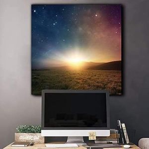 ((FREE SHIPPING)) green field surrounded by mountains as the sun begins to rise on a blue and red galactic sky - canvas art Painting like print for Sale in Kentfield, CA