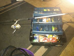 Fishing pole and tackle box with lures and plenty more for Sale in Reedley, CA