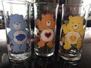 Set of 3 Care Bear Collectible Glasses from 1983 for Sale in Chicago, IL