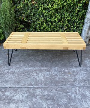Mid Century Slat Solid Wood Bench for Sale in San Diego, CA