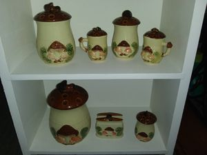 Vintage mushroom kitchen canister set for Sale in Fall River, MA