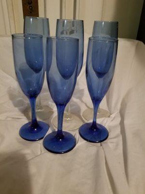 6 cobalt blue wine glasses 3 of each kind for Sale in Bangor, ME