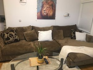Deep seat suede L- shape sofa for Sale in San Diego, CA