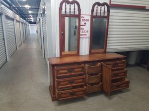 Beautiful solid wood dresser with double mirrors and matching nightstand for Sale in Greensboro, NC