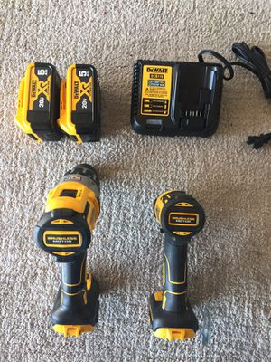 DEWALT XR 2-Tool 20-Volt Max Brushless Power Tool Combo Kit (Charger Included and 2-Batteries Included. 5.0 ) for Sale in Stockton, CA