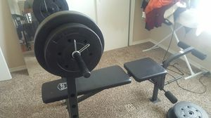 Weight bench and set for Sale in Dallas, TX