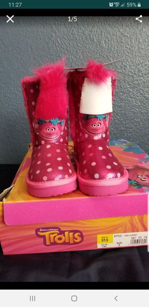 Trolls Boots, Girls Pink boots size 6, baby toddler size for Sale in Whittier, CA