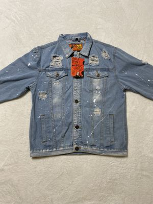 Jean jacket rip holes rolling papers men size small & large available for Sale in Bethlehem, PA