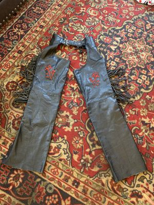 Hudson Leather Chaps XXS embroidered rose Harley Davidson for Sale in San Diego, CA