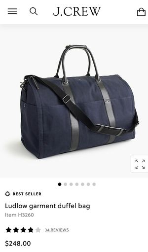 JCREW Ludlow garment duffle bag for Sale in Bethesda, MD