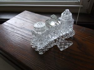 Antique crystal salt pepper sugar set for Sale in Belleville, NJ