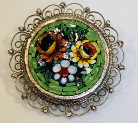Vintage Italian Micro Mosaic Floral Bouquet Brooch for Sale in Houston,  TX