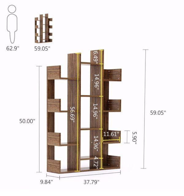Tribesigns Modern Tree Shaped 12-Shelf bookcase