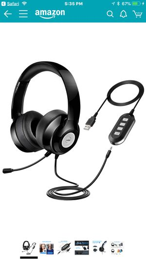 Vtin Headset with Microphone, USB Headset/3.5mm Computer Headphone Headset Noise Cancelling and Hands-Free with Mic, Stereo On-Ear Wired Business Hea for Sale in La Puente, CA