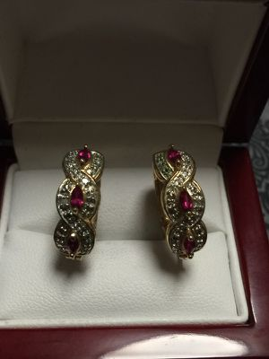 Stunning Silver 925 Earrings with Ruby's and Real Diamonds 💎 for Sale in Portland, OR