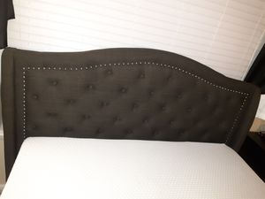Queen Upholstered bed frame with matching ottoman for Sale in Charlotte, NC