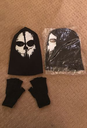 Halloween Black Ops face mask and fingerless gloves.One size fits all. for Sale in Portland, OR