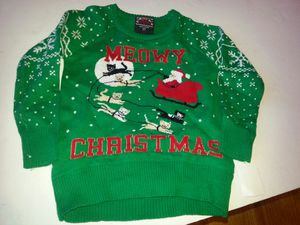 2T Kids ugly christmas sweater Santa's sled with cats for Sale in Rockville, MD
