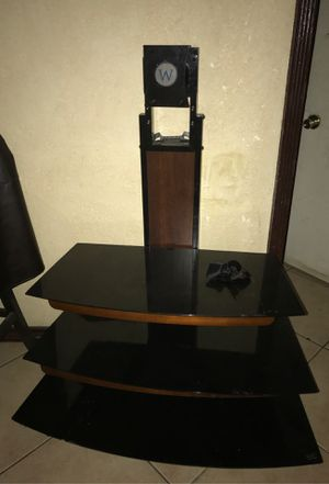 Tv stand with 3 glass shelves for Sale in San Bernardino, CA