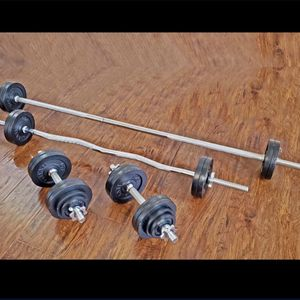 Standard Weights, Dumbbells, Straight Bar and Curl Bar (brand New) for Sale in San Jose, CA