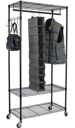 Adjustable Shelves with Hooks Garment Rack, Black for Sale in Laurel, MD