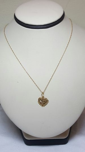 14k yellow gold chain heart pendant for Sale in Philadelphia, PA