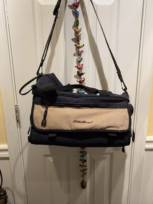 Eddie Bauer Large Suede and Navy Blue Canvas Camera Bag for Sale in Suffolk, VA