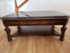 Beautiful wood coffee table with marble on top for Sale in Kent, WA