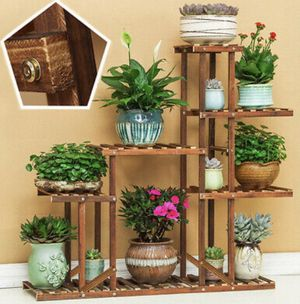Bamboo wood Plant 🌱 Stand Multiple Tier Holder Shelving Indoor/Outdoor for Sale in Melrose Park, IL