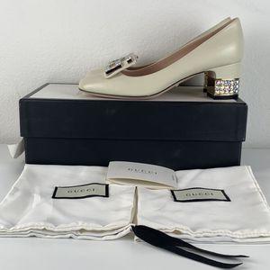 Gucci Cream Mid-Heel Pump Crystal G US 7 for Sale in Los Angeles, CA