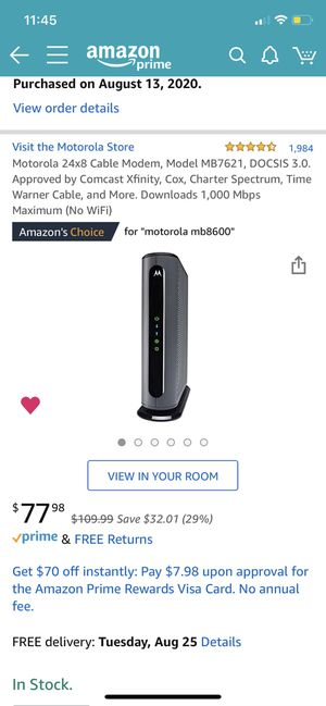 Motorola cable modem docsis 3.0 1000mbps max for Sale in Chula Vista, CA