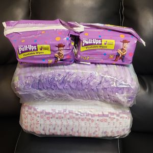 74 Huggies PULL-UPS for girls SIZE#2T3T +204 FLUSHABLE wipes $22.00 for Sale in Riverdale, GA