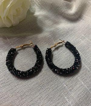 Rhinestone earrings, glitter earrings, black hoops earrings for Sale in Irvine, CA