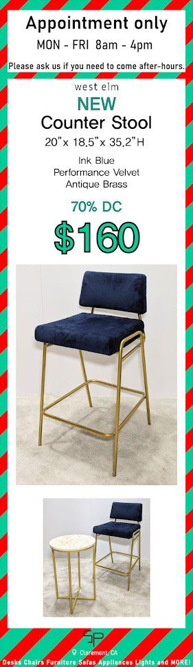 West elm Counter Stool Chair Blue velvet for Sale in Claremont, CA