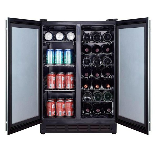 Magic Chef Dual Zone 23.4 in. 42-Bottle 114 Can Beverage and Wine Cooler