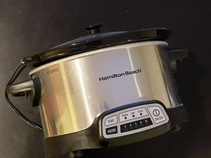Hamilton Beach 7-Quart Programmable Slow Cooker with flexible easy programming, dishwasher-safe crock &lid, Silver for Sale in Monterey Park, CA