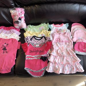 Baby Girl Clothes 0-3 Months: 11 Onesies, 3 Shirts, 6 Hats, 1 Bathing Suit, 5 Bows, Socks And Sleepers. for Sale in Poway, CA