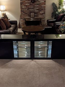 Black Glass Furniture Set (Desk and Cabinets) for Sale in Renton,  WA