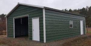New Green 24' x 31' x 9' Steel Garage with 10' x 8' Garage Door for Sale in Rehoboth, MA