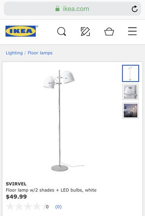 Floor lamp w/2 shades + LED bulbs, white for Sale in Woburn, MA