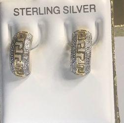 Genuine Diamonds Stud Earrings Solid .925 Sterling Silver for Sale in Anaheim,  CA